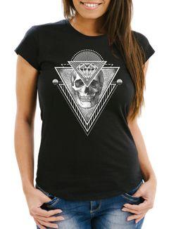 Damen T-Shirt Totenkopf Skull Diamond Diamant Slim Fit Moonworks®