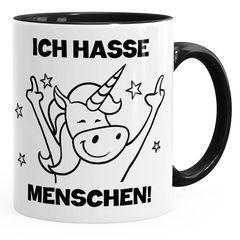 Einhorn Spruch - Ich hasse Menschen Kaffee-Tasse Trend Geschenk Kollegin MoonWorks®