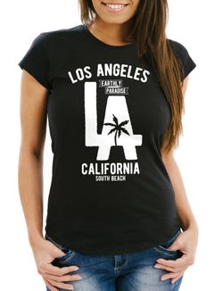 Damen T-Shirt Los Angeles California LA Palme Slim Fit Neverless®