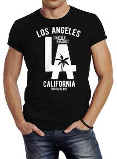 Herren T-Shirt Los Angeles California LA Palme Slim Fit Neverless®