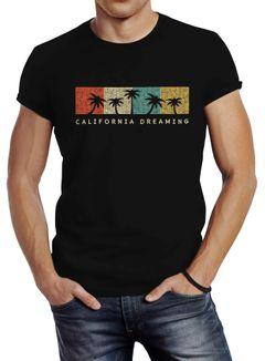 Herren T-Shirt California Dreaming Summer Party Palmen Palms Retro Slim Fit Neverless®