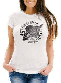 Damen T-Shirt Motorrad Biker Totenkopf Skull Wings Vintage Slim Fit Neverless®