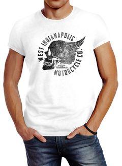 Herren T-Shirt Motorrad Biker Totenkopf Skull Wings Vintage Slim Fit Neverless®