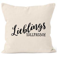 Kissen-Bezug Lieblingstollpatsch Geschenk Liebe Freundin Lustig Kissen-Hülle Deko-Kissen Baumwolle MoonWorks®