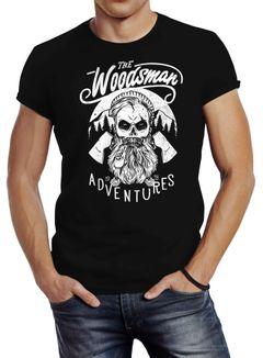 Herren T-Shirt Lumberjack Woodsman Hipster Bart Skull Totenkopf Neverless®