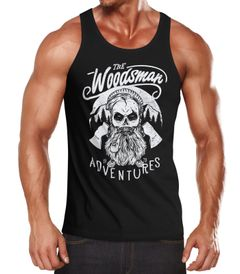 Herren Tank Top Lumberjack Woodsman Hipster Bart Skull Totenkopf Neverless®