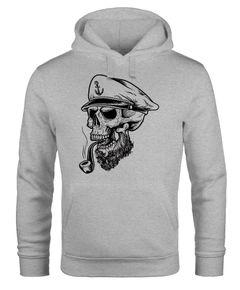 Herren Hoodie Totenkopf Kapitän Captain Skull Sailor Totenschädel Kapuzen-Pullover Männer Neverless®