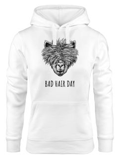 Damen Hoodie Lama Bad Hair day Spruch Llama Alpaka Statement Kapuzen-Pullover Moonworks®