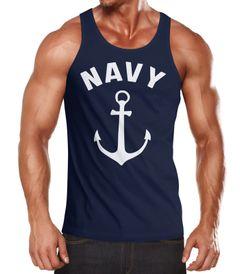 Herren Tanktop Navy Anker Anchor Muskelshirt Tank Top Muscle Shirt Achselshirt Moonworks®