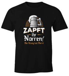 Herren T-Shirt Zapft ihr Narren der König hat Durst Bier Oktoberfest Fun-Shirt Moonworks®