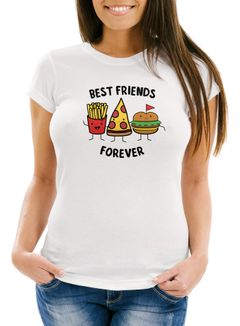 Damen T-Shirt Best Friends Forever Trio Pommes Pizza Burger Slim Fit Moonworks®