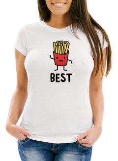 Damen T-Shirt Pommes Best Friends Forever Slim Fit Moonworks®