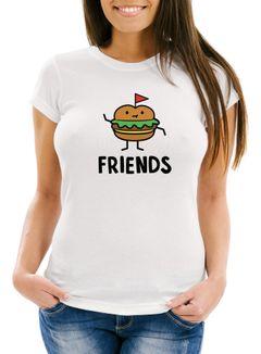 Damen T-Shirt Burger Best Friends Forever Slim Fit Moonworks®