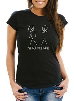 Damen T-Shirt I`ve Got Your Back Strichmännchen Slim Fit Fun-Shirt Moonworks®