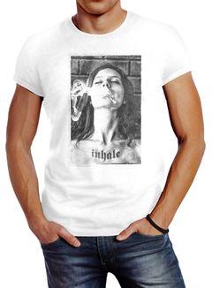 Herren T-Shirt mit Frauen Print Inhale Weed Rauchen Slim Fit Neverless®