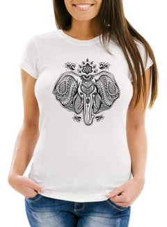 Damen T-Shirt Mandala Elefant Elephant Slim Fit Boho Ethno Neverless®