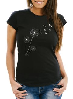Damen T-Shirt Pusteblume Vögel Dandelion Birds Slim Fit Neverless®