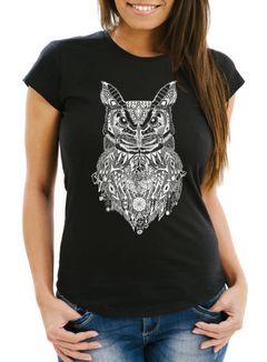 Damen T-Shirt Eule Atzekenmuster Ethno Boho Bohamian Atzec Owl Neverless®