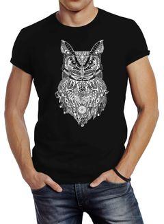 Herren T-Shirt Eule Atzekenmuster Ethno Boho Bohamian Atzec Owl Neverless®