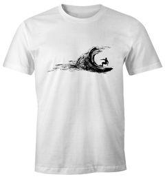 Herren T-Shirt  Surfer surfing surfen Surfboard Wave Welle Wellenreiten Urlaub Meer Ozean Surfer Boy Silhouette Slim Fit Neverless®