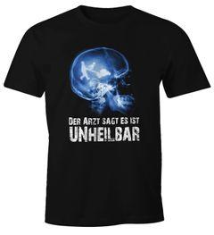 Herren T-Shirt Xray Der Arzt sagt es ist unheilbar Hobby Röntgenbild Schädel Gärtner Gartenarbeit Rasenmäher Gießkanne Garten Fun-Shirt Moonworks®