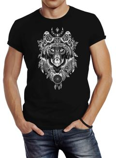 Herren T-Shirt Wolf Traumfänger Atzekenmuster Boho Atzec Ethno Neverless®