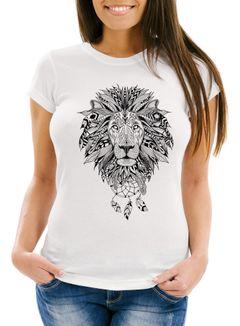 Damen T-Shirt Löwe Lion Ethno Atzekenmuster Boho Atzec Traumfänger Neverless®