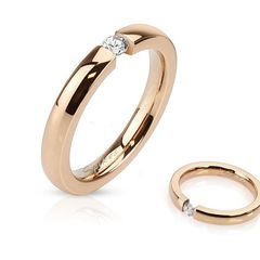 Damen Ring Edelstahl Zirkonia Kristall Partnerring Ehering Verlobungsring Rosé