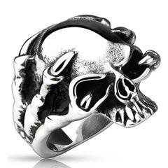 Totenkopf Ring Herren Biker Skull Skelett Klauen Gothic Punk Massiv Rocker Knochen Hand Finger Edelstahl