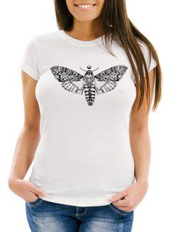 Damen T-Shirt Falter Schmetterling Butterfly Totenkopf Skull Atzec Neverless®