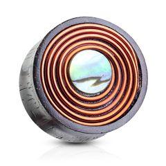 Holz Plug Flesh Tunnel Kupferdraht Perlmutt Wood Ear Plug Double Flared Saddle Fit Piercing Autiga