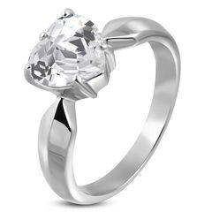 Verlobungsring Zirkonia Stein Herz-Form Damen-Ring Solitär-Ring Edelstahl Autiga®