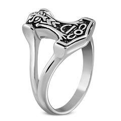Herrenring Edelstahl Herren Ring Thors Hammer Mjölnir Keltisch Celtic Biker Gothic Männer Autiga®