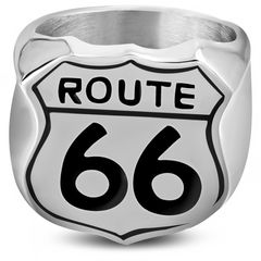 Herrenring Edelstahl Herren Ring Biker Route 66 Amerika Männer Autiga®