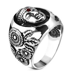 Herrenring Edelstahl Herren Damen Ring Buddha Buddhismus Autiga®