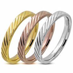 Damen-Ring Edelstahl Diagonal Streifen 3-farbig Triple Dreierring 3 in 1 Bandring Autiga®