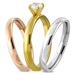 Damen-Ring Edelstahl Solitärring Zirkonia Kristall 3-farbig Triple Dreierring 3 in 1 Bandring Autiga®