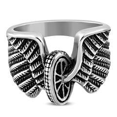 Herrenring Edelstahl Herren Ring Biker Flügel Engel Motorrad Reifen Männer Gothic Autiga®
