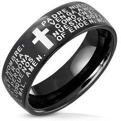 Edelstahl Herren Damen Ring Gebet Kreuz Vater Unser Schwarz Bandring Autiga®