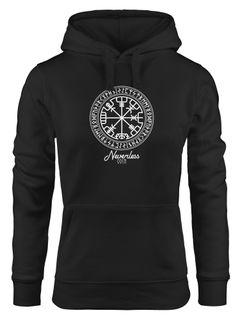 Hoodie Damen Wikinger Symbol Runen Wegweiser Kapuzen-Pullover Frauen Neverless®