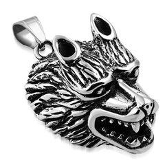 Edelstahl Anhänger Wolf Biker Halskette Lederkette Kugelkette Damen Herren Autiga®