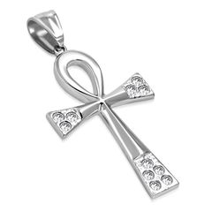 Edelstahl Anhänger Ankh Biker Zirkonia Kristalle Halskette Lederkette Kugelkette Damen Herren Autiga®