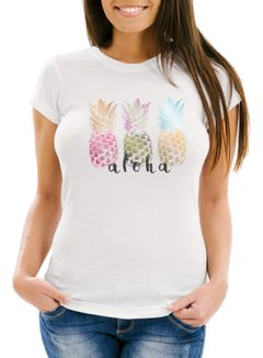 Damen T-Shirt Aloha Ananas Print Pineapple bunt Slim Fit Neverless®