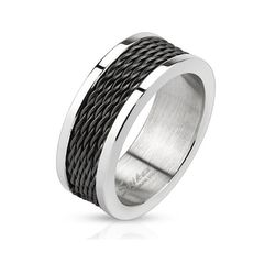 Herren Ring Edelstahl Herrenring Stahlseil Draht Multi Wire Kette Inlay