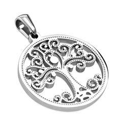 Edelstahl Anhänger Lebensbaum Tree of Life Halskette Lederkette Kugelkette Damen Herren Autiga®