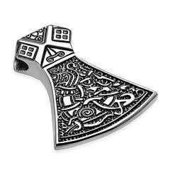 Edelstahl Anhänger Thors Hammer Mjölnir Vikinger Axt Beil Biker Halskette Lederkette Kugelkette Damen Herren Autiga®