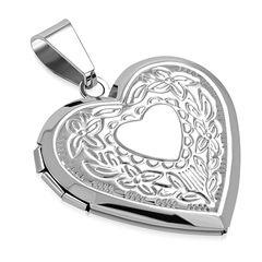 Edelstahl Anhänger Herz Heart Liebe Blumen Medaillon Vintage Halskette Lederkette Kugelkette Damen Herren Autiga®