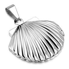Edelstahl Anhänger Muschel Medaillon Halskette Lederkette Kugelkette Damen Herren Autiga®