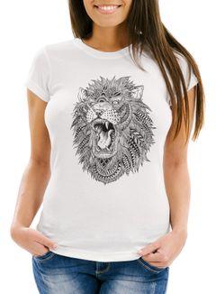 Damen T-Shirt Löwe Mandala Atzekenmuster Boho Atzec Federn Ethno Lion Neverless®