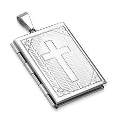 Edelstahl Anhänger Kreuz Bibel Medaillon Halskette Lederkette Kugelkette Damen Herren Autiga®